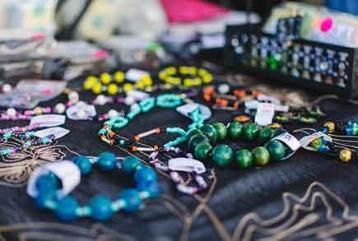 Picture of jewelry on table during Wesleyan Market