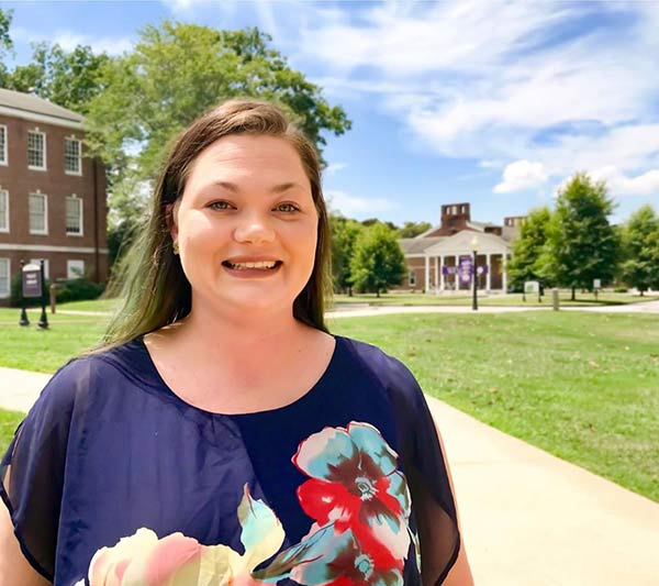 Student Mary Harper on Wesleyan Campus.
