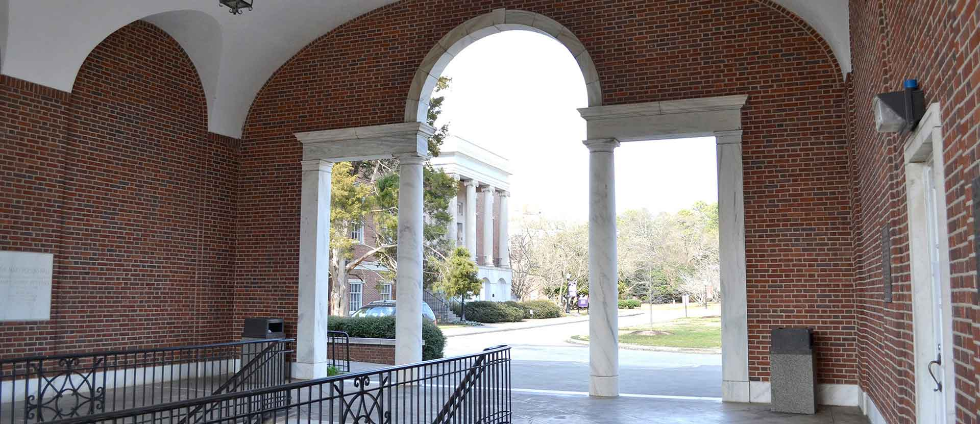 View of Candler building from inside the Loggia.