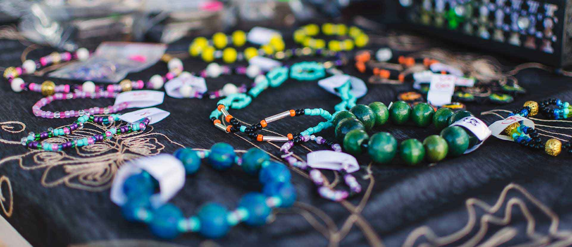 jewelry on table during Wesleyan market.