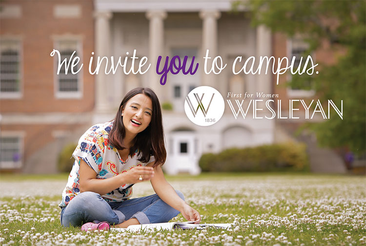 Student sits in lawn with text that says Welcome to Wesleyan.